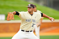 Wake Forest Demon Deacons relief pitcher Niko Spezial #27 in action against the Virginia Tech Hokies at Wake Forest Baseball Park on April 21, 2012 in Winston-Salem, North Carolina.  The Demon Deacons defeated the Hokies 8-6.  (Brian Westerholt/Four Seam Images)
