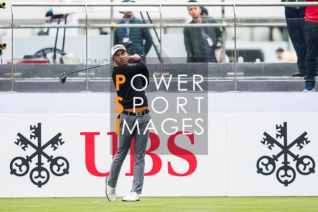 Leon D'souza of Hong Kong tees off during the day three of UBS Hong Kong Open 2017 at the Hong Kong Golf Club on 25 November 2017, in Hong Kong, Hong Kong. Photo by Yu Chun Christopher Wong / Power Sport Images