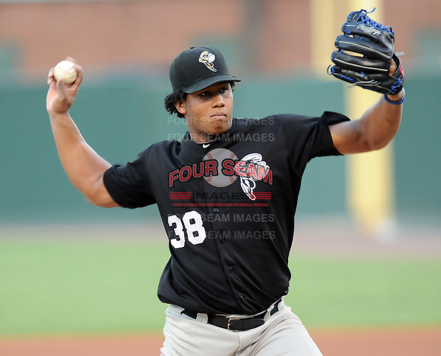 Starting RHP Armando Rodriguez (38) of the Savannah Sand Gnats in Game 1 of the South Atlantic League Southern Division Championship against the Greenville Drive on Sept. 8, 2010, at Fluor Field at the West End in Greenville, S.C. Photo by: Tom Priddy/Four Seam Images