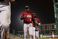 Fort Wayne TinCaps Xavier Edwards (9) jogs off the field between innings of a Midwest League game against the Fort Wayne TinCaps at Parkview Field on April 30, 2019 in Fort Wayne, Indiana. Kane County defeated Fort Wayne 7-4. (Zachary Lucy/Four Seam Images)