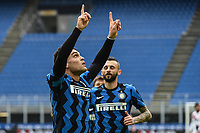 Lautaro Martinez of FC Internazionale celebrates after scoring a goal during the Serie A football match between FC Internazionale and FC Crotone at stadio San Siro in Milano (Italy), January 3rd, 2021. Photo Daniele Buffa / Image Sport / Insidefoto