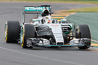 March 14, 2015: Lewis Hamilton (GBR) #44 from the Mercedes AMG Petronas F1 Team  rounds turn two during qualification at the 2015 Australian Formula One Grand Prix at Albert Park, Melbourne, Australia. Photo Sydney Low