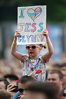 Pictured: A young Jess Glynne fan in the crowd. Saturday 26 May 2018<br /> Re: BBC Radio 1 Biggest Weekend at Singleton Park in Swansea, Wales, UK.