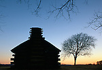 Soldier's hut at twilight, Valley Forge National Historical Park, Pennsylvania, USA