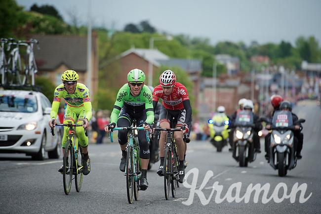 breakaway group about to be caught by the peloton (in the back): Sander Armee (BEL/Lotto-Belisol), Maarten Tjallingii (NLD/Belkin), Jeffry Johan Romero (COL/Colombia) & Andrea Fedi (ITA/Neri Sottoli)  <br /> <br /> Giro d'Italia 2014<br /> stage 2: Belfast-Belfast <br /> 219km