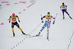 HOLMENKOLLEN, OSLO, NORWAY - March 16: Fighting for the win on the home stretch. (L-R) Eric Frenzel of Germany (GER) and  Jason Lamy Chappuis of France (FRA) during the cross country 15 km (2 x 7.5 km) competition at the FIS Nordic Combined World Cup on March 16, 2013 in Oslo, Norway. (Photo by Dirk Markgraf)