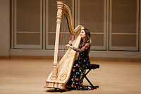 Harpist Katherine Siochi performs during her laureate recital at the 11th USA International Harp Competition at Indiana University in Bloomington, Indiana on Friday, July 5, 2019. (Photo by James Brosher)