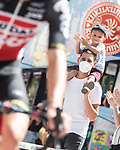 Young fan enjoying the show at sign on before the start of Stage 7 of La Vuelta d'Espana 2021, running 152km from Gandia to Balcon de Alicante, Spain. 20th August 2021.     <br /> Picture: Unipublic/Charly Lopez | Cyclefile<br /> <br /> All photos usage must carry mandatory copyright credit (© Cyclefile | Charly Lopez/Unipublic)