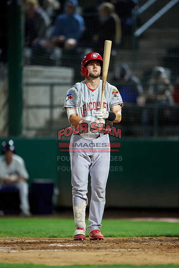Vancouver Canadians Philip Clarke (31) at bat during a Northwest League game against the Tri-City Dust Devils at Gesa Stadium on August 21, 2019 in Pasco, Washington. Vancouver defeated Tri-City 1-0. (Zachary Lucy/Four Seam Images)