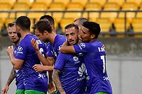 Phoenix Team celebrates a goal during the A League - Wellington Phoenix v Western United FC at Sky Stadium, Wellington, New Zealand on Friday 21 February 2020. <br /> Photo by Masanori Udagawa. <br /> www.photowellington.photoshelter.com