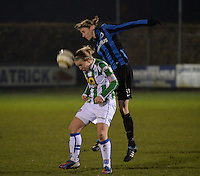 20131213 - VARSENARE , BELGIUM : Brugge's Heleen Jaques (right) pictured in a duel with Zwolle's Sylvia Smit during the female soccer match between Club Brugge Vrouwen and PEC Zwolle Ladies , of  matchday 14  in the BENELEAGUE competition. Friday 13th December 2013. PHOTO DAVID CATRY