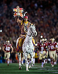 FSU's Osceola atop Renegade leads the Florida State Seminoles onto the field before the BCS national title game at the Rose Bowl in Pasadena, California on January 6, 2014.