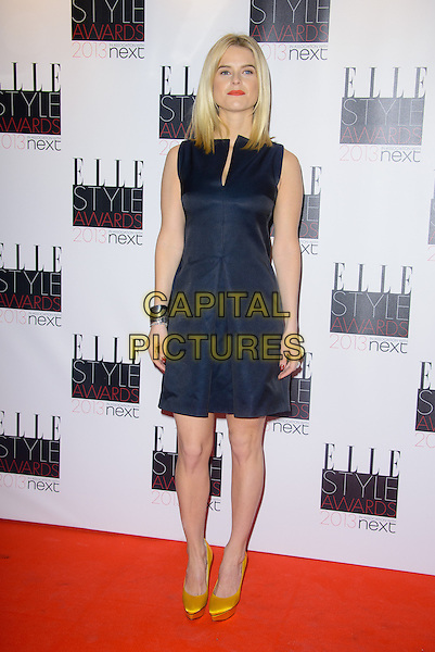 Alice Eve.The Elle Style Awards 2013 arrivals, The Savoy Hotel, London, England..11th February 2013.full length dress yellow shoes silver cuff bracelet sleeveless black  .CAP/CJ.©Chris Joseph/Capital Pictures.