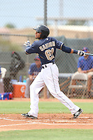 Jose Savinon (61) of the AZL Padres bats during a game against the AZL Rangers at the San Diego Padres Spring Training Complex on July 4, 2015 in Peoria, Arizona. Padres defeated the Rangers, 9-2. (Larry Goren/Four Seam Images)