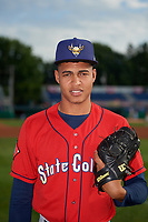 State College Spikes pitcher Leonardo Taveras (41) poses for photo before a NY-Penn League game against the Batavia Muckdogs on July 2, 2019 at Dwyer Stadium in Batavia, New York.  Batavia defeated State College 1-0.  (Mike Janes/Four Seam Images)