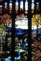 """Utopia:  """"Autumn Landscape""""--Tiffany glass especially made for the Metropolitan Museum's American Wing opening, 1924.  Tiffany Studios, N.Y. 1923."""