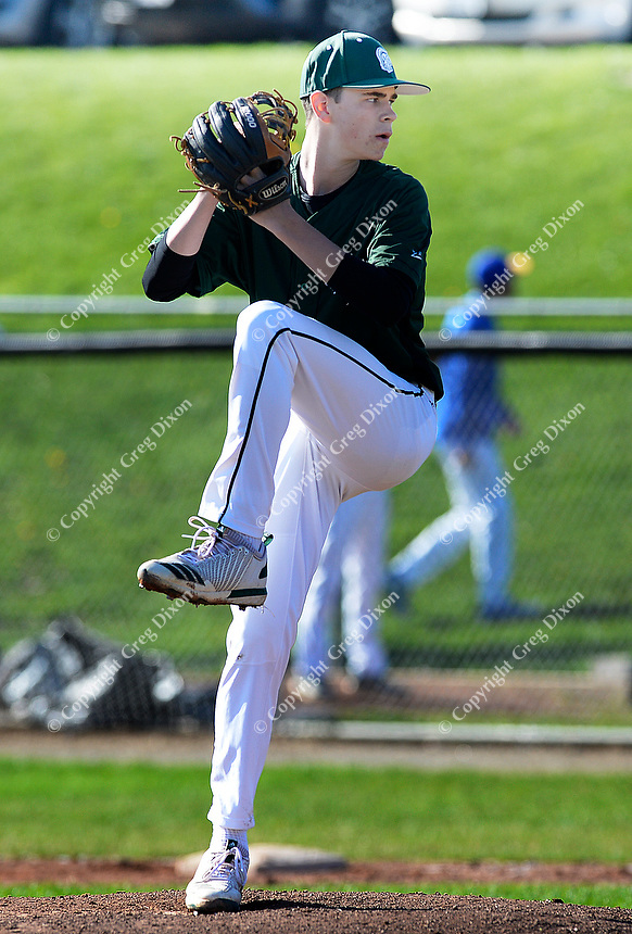 Madison Memorial's Kole Kerkhoff pitches a whole-game shutout, as Memorial tops West 2-0 in Big Eight Conference high school baseball on Tuesday, 4/23/19 at Mansfield Stadium field at Memorial High School in Madison, Wisconsin