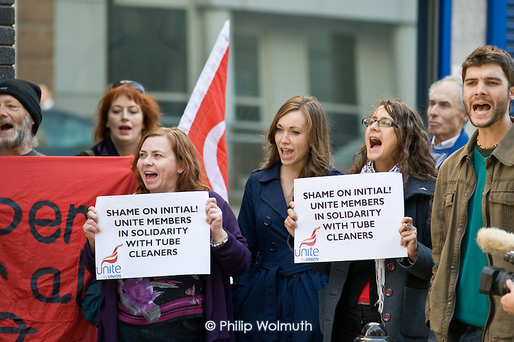 Unite members join an RMT picket of London offices of Initial Rentokil over exploitation of tube cleaners and misuse of immigration authorities to intimidate contract workers.