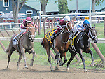 Sheer Drama, ridden by Joe Bravo and trained by David Fawkes, wins the 68th running of the grade 1 Ballerina Stakes for older females on August 29, 2015 at Saratoga Race Course in Saratoga Springs (Sophie Shore/Eclipse Sportswire)