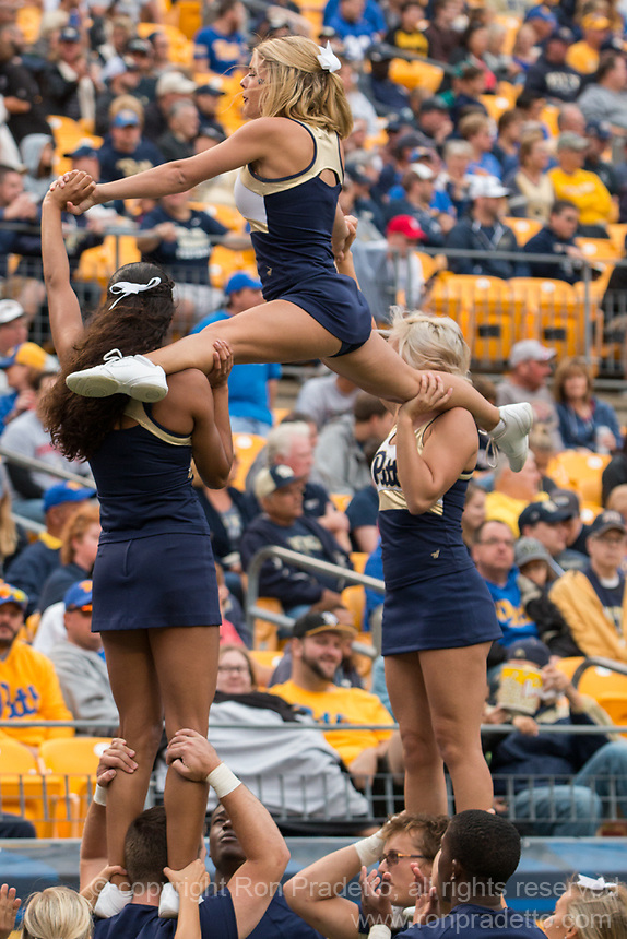 Pitt cheerleaders. The Pitt Panthers defeated the Youngstown State Penguins 28-21 in overtime at Heinz Field, Pittsburgh, Pennsylvania on September 02, 2017.