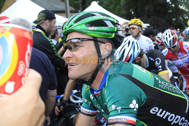 Thomas Voeckler (FRA) Team Europcar at the end of Stage 1 of the 99th edition of the Tour de France, running 198km from Liege to Seraing, Belgium. 1st July 2012.<br /> (Photo by Eoin Clarke/NEWSFILE)