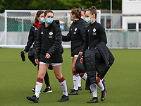 Noa Corbeels (16) of OHL and Marith De Bondt (31) of OHL  pictured before a female soccer game between Oud Heverlee Leuven and AA Gent Ladies on the 9 th matchday of play off 1 in the 2020 - 2021 season of Belgian Womens Super League , saturday 22 nd of May 2021  in Heverlee , Belgium . PHOTO SPORTPIX.BE | SPP | SEVIL OKTEM