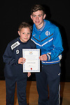 St Johnstone FC Academy Awards Night...06.04.15  Perth Concert Hall<br /> Craig Thomson presents a certificate to Jamie Oswald<br /> Picture by Graeme Hart.<br /> Copyright Perthshire Picture Agency<br /> Tel: 01738 623350  Mobile: 07990 594431