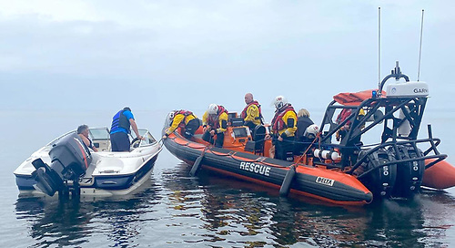 Lough Neagh Rescue team attend to the broken down motorboat