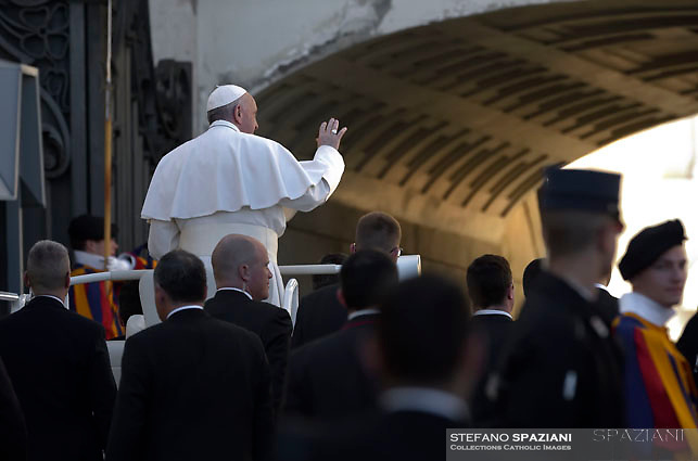 Pope Francis during of a weekly general audience at St Peter's square in Vatican. March 1, 2017