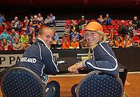 April 18, 2015, Netherlands, Den Bosch, Maaspoort, Fedcup Netherlands-Australia, Kids pressconference with Richel Hogenkamp and Michaëlla Krajicek (R)<br /> Photo: Tennisimages/Henk Koster