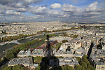 View of the Eiffel Tower shadow and the Seine River, Paris, France