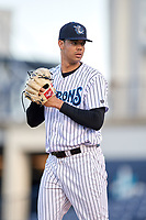 Tampa Tarpons starting pitcher Freicer Perez (37) during a game against the Fort Myers Miracle on May 2, 2018 at George M. Steinbrenner Field in Tampa, Florida.  Fort Myers defeated Tampa Tarpons 5-0.  (Mike Janes/Four Seam Images)