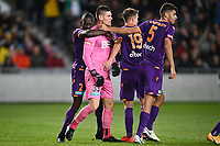 30th May 2021; Auckland, New Zealand;  Jason Geria hugs keeper Liam Reddy as he makes a late save. Wellington Phoenix versus Perth Glory, A-League football at Eden Park.