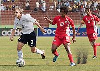 Tyler Polak dribbles the ball. US Under-17 Men's National Team defeated United Arab Emirates 1-0 at Gateway International  Stadium in Ijebu-Ode, Nigeria on November 1, 2009.