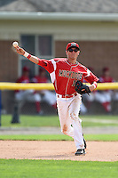 Batavia Muckdogs shortstop Aaron Blanton (11) throws to first during the second game of a doubleheader against the Connecticut Tigers on July 20, 2014 at Dwyer Stadium in Batavia, New York.  Connecticut defeated Batavia 2-0.  (Mike Janes/Four Seam Images)