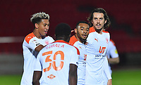 Blackpool's Keshi Anderson is congratulated on scoring his team's opening goal<br /> <br /> Photographer Dave Howarth/CameraSport<br /> <br /> EFL Trophy Northern Section Group G - Accrington Stanley v Blackpool - Tuesday 6th October 2020 - Crown Ground - Accrington<br />  <br /> World Copyright © 2020 CameraSport. All rights reserved. 43 Linden Ave. Countesthorpe. Leicester. England. LE8 5PG - Tel: +44 (0) 116 277 4147 - admin@camerasport.com - www.camerasport.com