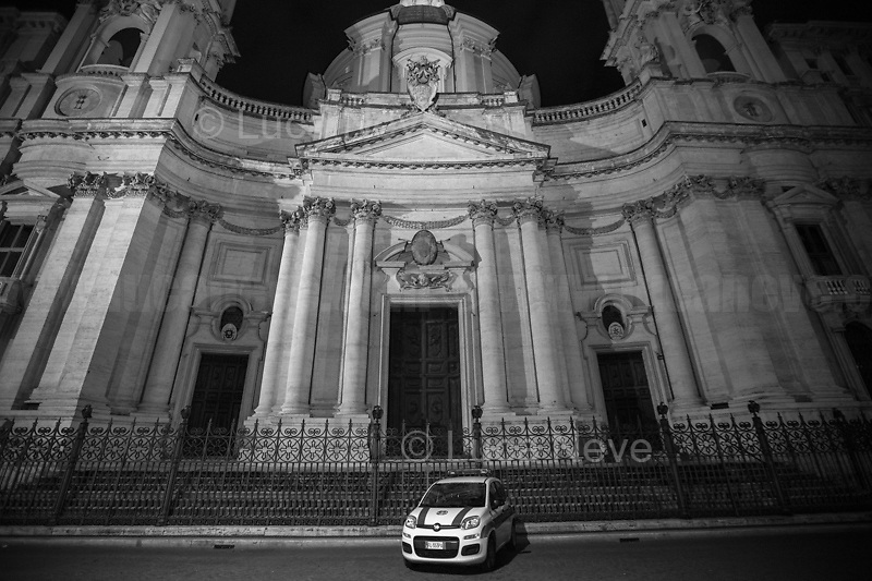 """Piazza Navona.<br /> <br /> Rome, 23/10/2020. Documenting the """"curfew"""" (coprifuoco) imposed from Friday night in Rome and its surrounding Lazio Region. The local authorities tightened rules and restrictions due to a spike in the Covid-19 / Coronavirus cases. 23 October bulletins sees 19.143 new cases, 91 people died, 182.032 tests made. Today, the President of Lazio Region, Nicola Zingaretti (Leader of the Democratic Party, PD, party member of the Italian Coalition Government), imposed the night curfew, from midnight to 5AM, for 30 days (1.). A new self-certification (autocertificazione, downloadable from here 1.) is needed to leave home which is allowed only for urgent reasons, mainly work and health. Furthermore, the Mayor of Rome, Virginia Raggi, implemented """"no-go zones"""" restrictions from 9PM in some of the areas and squares of the Eternal City famous for the nightlife, including Campo de' Fiori, Via del Pigneto, Piazza Trilussa in Trastevere district and Piazza Madonna de' Monti.<br /> <br /> Footnotes & Links:<br /> 1. http://www.regione.lazio.it/binary/rl_main/tbl_news/ordinanza_regione_lazio_intesa_Ministro_salute__mod_accettate_rev1__ore_24_1_signed.pdf<br /> <br /> March 2020, Coronavirus lockdown in Rome:<br /> - 12.03.2020 - Rome's Lockdown for the Outbreak of the Coronavirus In Italy - SARS-CoV-2 - COVID-19: https://lucaneve.photoshelter.com/gallery/12-03-2020-Romes-Lockdown-for-the-Outbreak-of-the-Coronavirus-In-Italy-SARS-CoV-2-COVID-19/G0000jGtenBegsts/<br /> - 07-23.03.2020 - Villaggio Olimpico Ai Tempi del COVID-19 - Rome's Olympic Village Under Lockdown: https://lucaneve.photoshelter.com/gallery/07-23-03-2020-Villaggio-Olimpico-Ai-Tempi-del-COVID-19-Romes-Olympic-Village-Under-Lockdown/G0000D2L9l0ibXZI/"""
