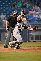***Temporary Unedited Reference File***Arkansas Travelers catcher Stephen McGee (9) during a game against the Tulsa Drillers on April 25, 2016 at ONEOK Field in Tulsa, Oklahoma.  Tulsa defeated Arkansas 4-3.  (Mike Janes/Four Seam Images)