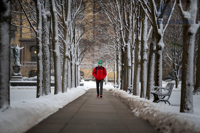 February 4, 2021; A student walks down a tree lined walkway on the Main Quad after a snow shower.  (Photo by Barbara Johnston/University of Notre Dame)