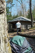 """Appalachian Trail - Hexacuba Shelter is a six-sided hexagonal shelter on the south side of Mt. Cube at 1980 feet just off the Kodak Trail (AT) in Orford, New Hampshire USA. It has 2 open sides and a large center post that supports the roof plus has a 5 sided privy called """"Penta Privy"""". This shelter is known by two names Hexacuba and Hexacube shelter."""