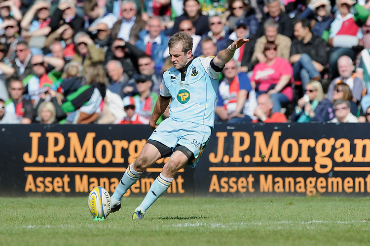 Stephen Myler of Northampton Saints takes a conversion attempt during the Aviva Premiership match between Harlequins and Northampton Saints at the Twickenham Stoop on Saturday 4th May 2013 (Photo by Rob Munro)