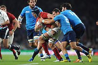 Bernard le Roux of France forces his way past Guglielmo Palazzani and Luke McLean of Italy during Match 5 of the Rugby World Cup 2015 between France and Italy - 19/09/2015 - Twickenham Stadium, London <br /> Mandatory Credit: Rob Munro/Stewart Communications