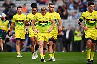 22nd May 2021; Eden Park, Auckland New Zealand; All Blacks Sevens versus Australia, Trans-Tasman Sevens;  A dejected Australian team.