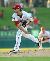 Starting pitcher Tyler WIlson (29) of the Greenville Drive, Class A affiliate of the Boston Red Sox, in the second game of a doubleheader against the Rome Braves on August 15, 2011, at Fluor Field at the West End in Greenville, South Carolina. (Tom Priddy/Four Seam Images)