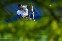WASHINGTON, DC - AUGUST 1: Prajnesh Gunneswaran (IND) serves to Go Soeda (JPN) during Qualifying at the 2021 Citi Open at Rock Creek Park Tennis Center on August 1, 2021 in Washington, DC.