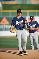 Reno Aces starting pitcher Tyler Holton (43) before the game against the Salt Lake Bees at Smith's Ballpark on August 24, 2021 in Salt Lake City, Utah. The Aces defeated the Bees 6-5. (Stephen Smith/Four Seam Images)