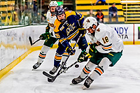 26 January 2019: Merrimack College Warrior Forward Sami Tavernier, a Junior from Morzine, France, in first period action against the University of Vermont Catamounts at Gutterson Fieldhouse in Burlington, Vermont. The Warriors fell to the Catamounts 4-3 in overtime after tying up the game in the dyeing seconds of the third period of their America East conference game. Mandatory Credit: Ed Wolfstein Photo *** RAW (NEF) Image File Available ***