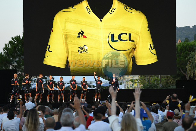 Team Ineos Grenadiers on stage at the team presentation before the Tour de France 2020, Nice, France. 27th August 2020.<br /> Picture: ASO/Alex Broadway   Cyclefile<br /> All photos usage must carry mandatory copyright credit (© Cyclefile   ASO/Alex Broadway)