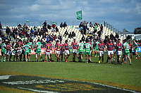 The teams shake hands after the Mitre 10 Cup Cup rugby match between Manawatu Turbos and Southland Stags at Manfeild Park in Feilding, New Zealand on Saturday, 1 November 2020. Photo: Dave Lintott / lintottphoto.co.nz