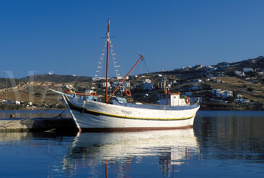 Paros, Greek Islands, Parikia, Cyclades, Greece, Europe, Fishing boats docked in the harbor of Parikia on Paros Island on the Aegean Sea.